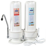 Countertop Water Filter white with Two Replaceable Cartridges