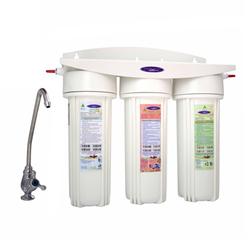 Under Sink Triple Water Filter with Ultrafiltration for Oil and VOCs removal