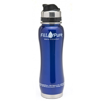 Stainless steel water bottle with a filter
