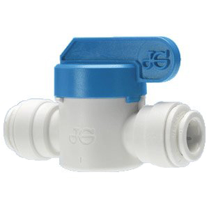 "John Guest Inline Ball Valve for RO , 1/4""x1/4"" and 3/8""x3/*, PPSV040808W"