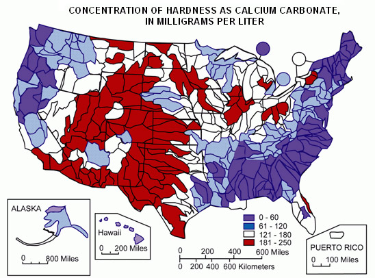 US water hardness map