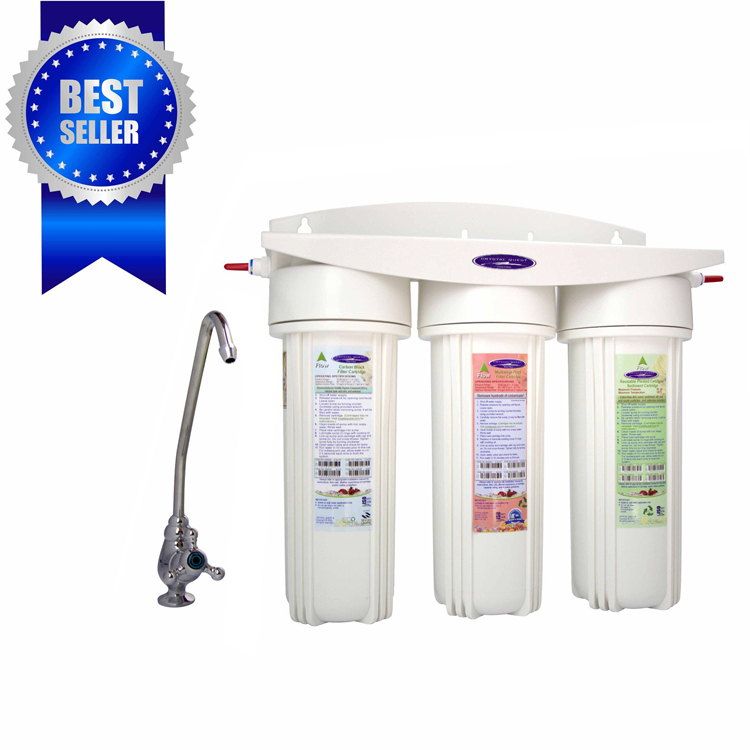 Crystal Quest CQ-W14F-PLUS Undersink Water Filter With Three Cartridges and Fluoride Removal - Undersink W14F PLUS