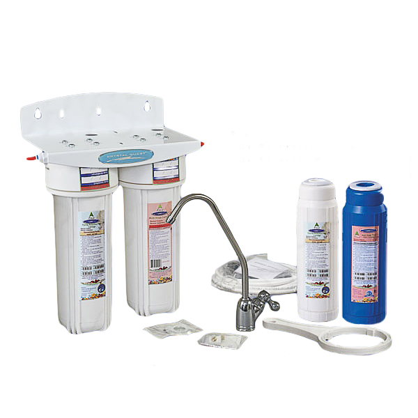 Crystal Quest CQ-W13F-PLUS Undersink Water Filter With Fluoride Removal, Double Cartridge - PLUS