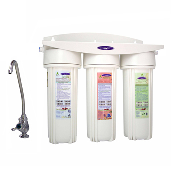 Crystal Quest CQE-US-00324 Under Sink Water Filter Triple with Nitrate Removal Undersink
