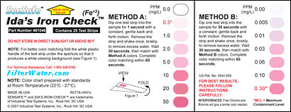 Ida Iron Check color chart,iron water test color chart
